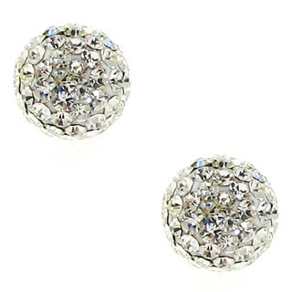 Sterling Silver 8mm White Crystal Ball Earrings