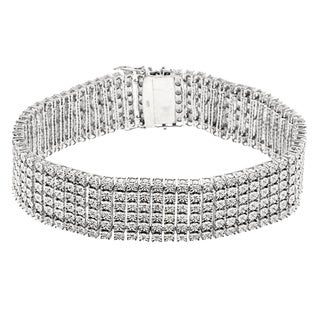 Sterling Silver 1ct TDW Diamond Multi Row Bezel Set Bracelet (H-I, SI1-SI2)