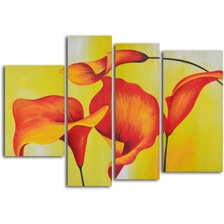 'Consultation of amber lilies' 4-piece Hand Painted Oil Painting