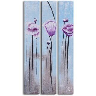 'Lavender poppies in white' 3-piece Hand Painted Oil Painting