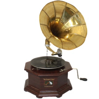 Casa Cortes Decorative RCA Replica Gramophone Phonograpth and Large Brass Horn