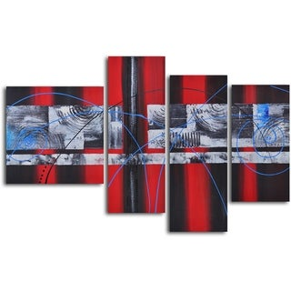 'Geometric symphony with blue' 4-piece Hand Painted Oil Painting
