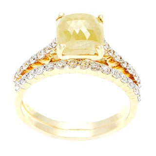 Diamonds For A Cure 18k Gold 2 7/8ct TDW Yellow Cushion Cut Ring Set