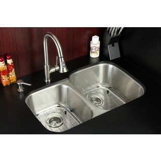 Undermount Stainless Steel 32-inch Double Bowl Kitchen Sink and Faucet Combo and Grid/ Strainer and Soap Dispenser