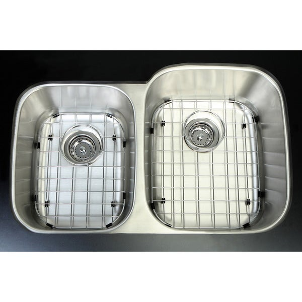 Undermount Stainless Steel 32-inch Double Bowl Kitchen Sink Combo and Grid/ Strainer