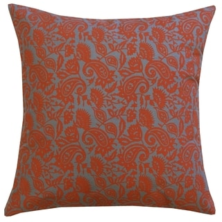 20 x 20-inch Rust Orange Petit Paisley Throw Pillow (India)