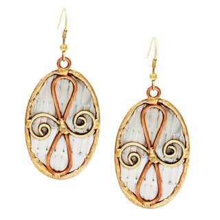 Handmade Oval Abstract Stainless Steel Dangle Earrings (India)