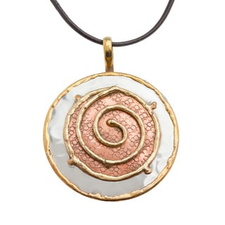 Handmade Copper and Brass Swirl Stainless Steel Necklace (India)