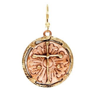 Handmade Copper Disc and Brass Cross Stainless Steel Earrings (India)