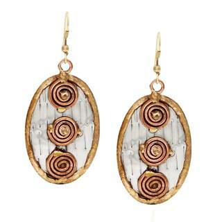 Handmade Three Copper Swirls Stainless Steel Earrings (India)