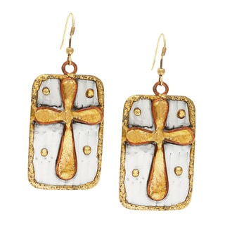 Handmade Square Brass Cross Stainless Steel Earrings (India)
