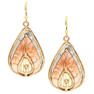 Handmade Copper Leaf Stainless Steel Teardrop Earrings (India)