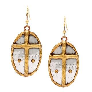 Handmade Oval Brass Cross Stainless Steel Earrings (India)