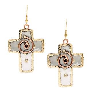 Handmade Copper Swirl Stainless Steel Cross Earrings (India)