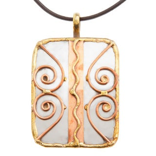 Handmade Copper Swirls Stainless Steel Necklace (India)