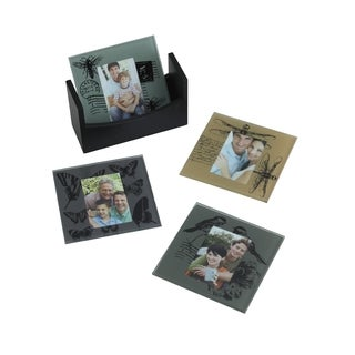 Melannco Nature Print Photo Coasters (Set of 4)