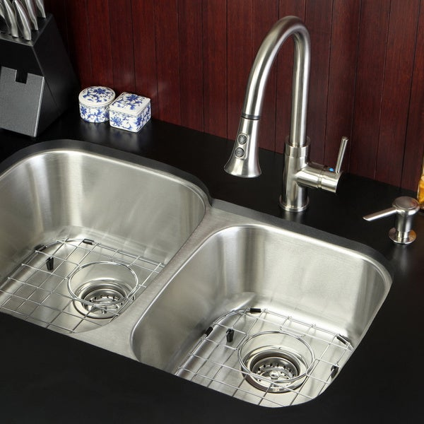 undermount stainless steel 32 inch double bowl kitchen sink and faucet combo 15785090. Black Bedroom Furniture Sets. Home Design Ideas
