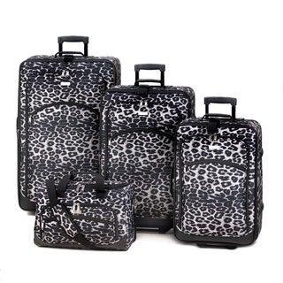 Snow Leopard Print 4-Piece Fashion Luggage Set