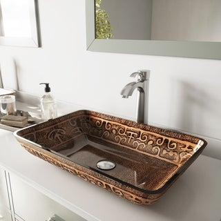 Vigo Rectangular Golden Greek Glass Vessel Sink and Brushed Nickel Otis Faucet Set