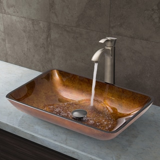 Vigo Rectangular Russet Glass Vessel Sink and Brushed Nickel Otis Faucet Set