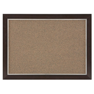 Quartet Two-Tone Cork Bulletin Board 17 x 23-inch Espresso Wood Frame