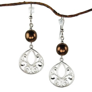 Jewelry by Dawn Sterling Silver Brown Glass Fancy Filigree Teardrop Earrings