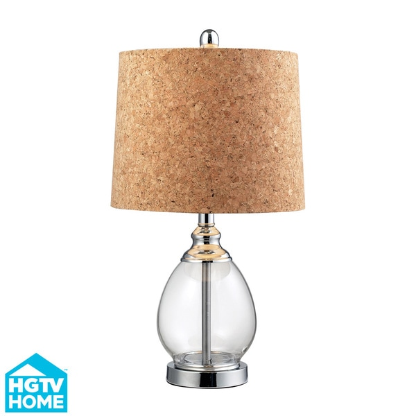 cork shade 1 light clear glass table lamp overstock shopping great. Black Bedroom Furniture Sets. Home Design Ideas