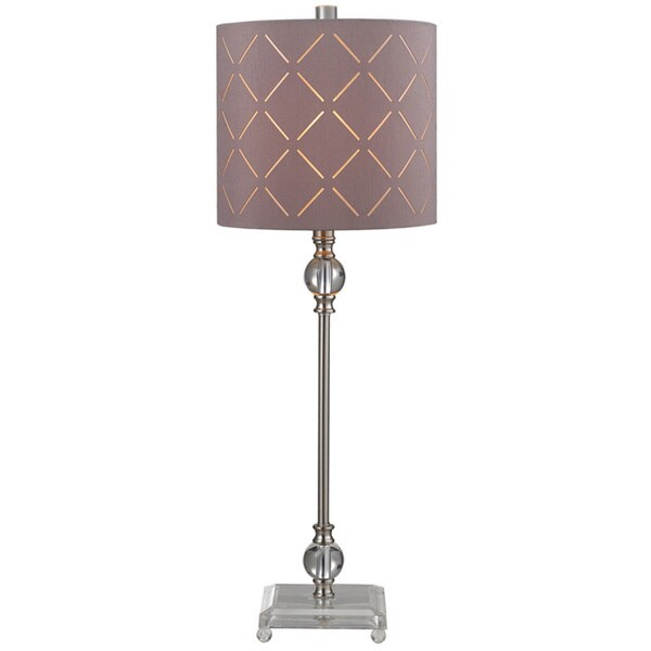 1-light Acrylic/ Brushed Steel Table Lamp