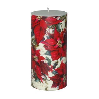 3 x 6-inch Christmas Poinsettia Pillar Candles (Set of 4)