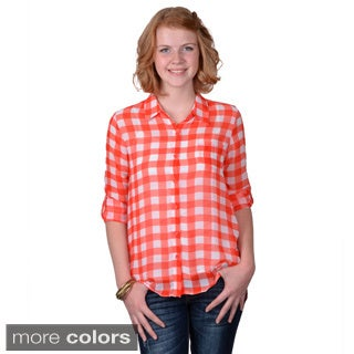 Journee Collection Juniors Lightweight Plaid Button-up Top
