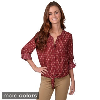 Journee Collection Juniors Roll Sleeve Button-up Shirt