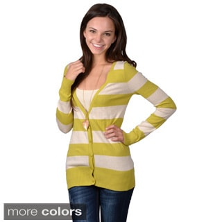 Journee Collection Junior's Striped Button-up Cardigan