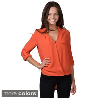 Journee Collection Juniors V-neck Hi-lo Top