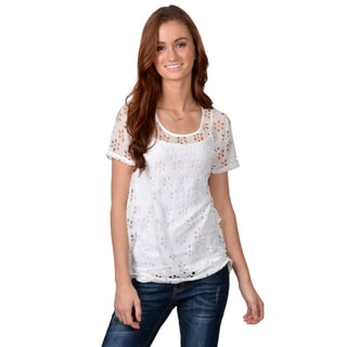 Journee Collection Women's Lightweight Short Sleeve Cut-out Top