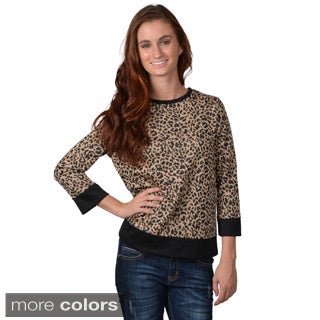Journee Collection Women's Round Neck Animal Print Top