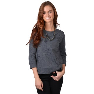 Journee Collection Women's Three-quarter Sleeve Star Detail Sweatshirt