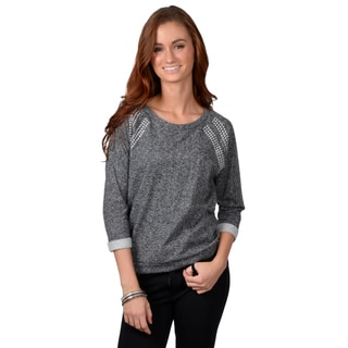 Journee Collection Women's Three-quarter Sleeve Stud Detail Sweatshirt