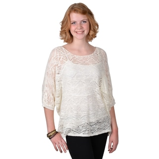 Journee Collection Women's Short-sleeve Crochet Top