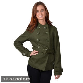 Journee Collection Women's Belted Double Breasted Coat