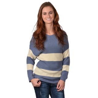 Journee Collection Women's Striped V-neck Sweater