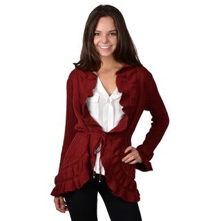 Journee Collection Women's Long Open Front Ruffled Cardigan