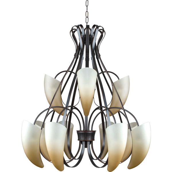 12-light Brushed Bronze Matterhorn Chandelier