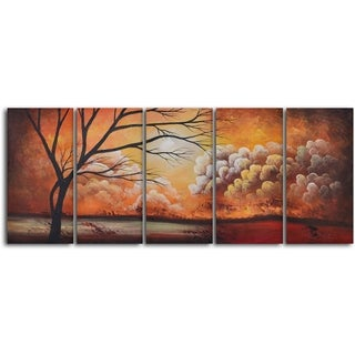 'Tree silhouette by thunder' 5-piece Hand Painted Oil Painting