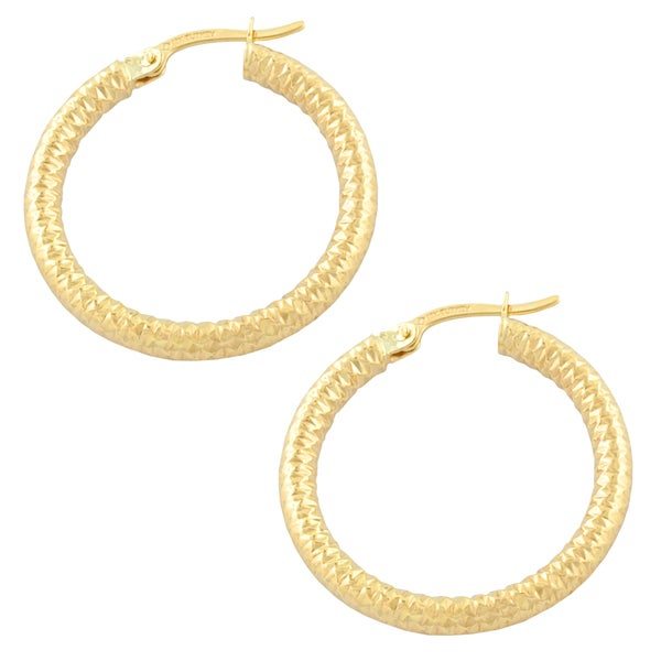 Fremada 10k Yellow Gold Ribbed Hoop Earring