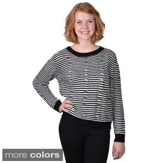 Journee Collection Women's Long-Sleeve Striped Sweater with Cable Relief