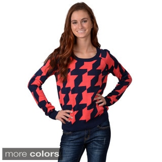 Journee Collection Women's Long Sleeve Herringbone Sweater