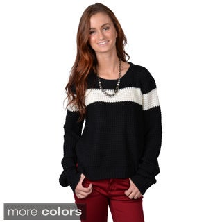 Journee Collection Women's Long-Sleeve Striped Crew-Neck Sweater
