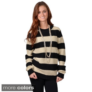 Journee Collection Women's Long Sleeve Striped Knit Sweater
