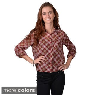 Journee Collection Women's Sheer Button-Up Plaid Polyester Print Top