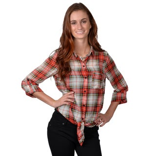 Journee Collection Women's Sheer Button-Up Waist-Tie Plaid Print Top